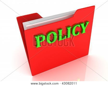 Policy Bright Green Letters On A Red Folder