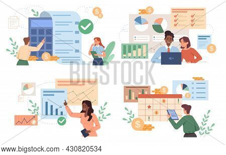 Set Of Male And Female Characters Are Analyzing Personal Or Corporate Budget On White Background. Fi