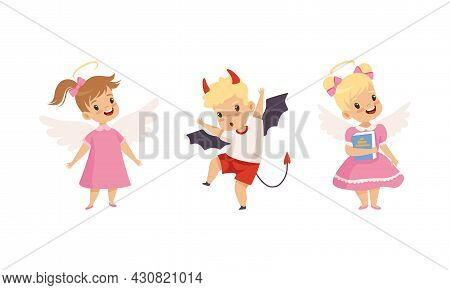 Naughty Boy With Devil Horn And Obedient Little Girl In Neat Dress With Angel Wings Vector Set