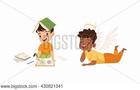 Naughty And Obedient Little Boy Drawing In Book With Felt Pen Vector Set