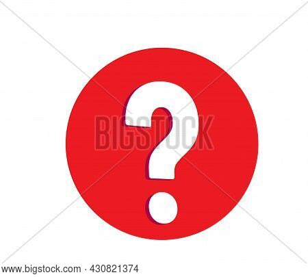 Large White Question Mark In The Red Circle Vector Illustration Isolated On White Background. Proble