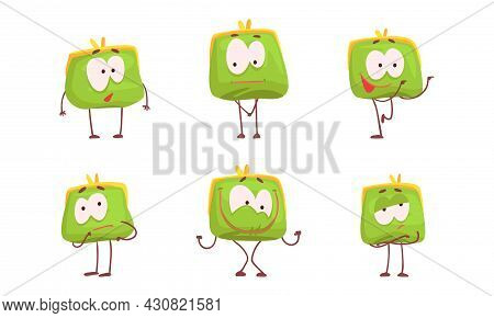 Cute Purse With Funny Faces Set, Green Funny Wallet Charaters Showing Different Emotions Cartoon Vec