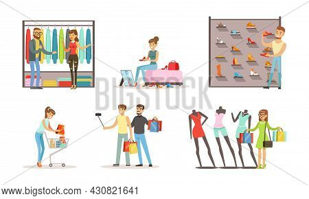 People Shopping For Clothes In Clothing Store Or Boutique Set, Women And Men Trying On And Choosing