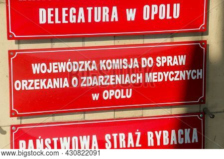 Opole, Poland - June 4, 2021: Sign Provincial Committee For Adjudication Of Medical Events In Opole