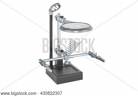 Adjustable Helping Hand With Magnifying Glass On Solid Heavy Base Isolated On White Background