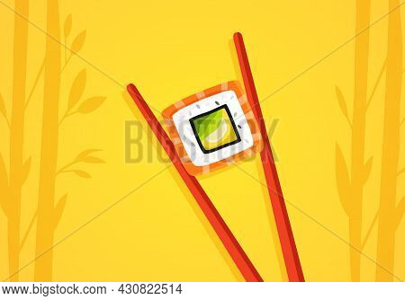Sticks Holding Tasty Colorful Sushi Roll On Yellow Background. Concept Of Restaurant Chef Made Rolls