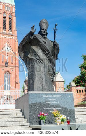 Rybnik, Poland - June 4, 2021: Statue Of Pope John Paul Ii.