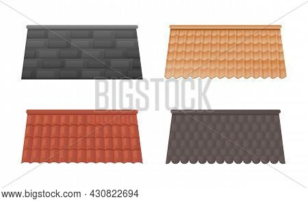 Set Of Colorful Roofs For House Design On White Background. Collection Of Tile Roof Templates In Dif
