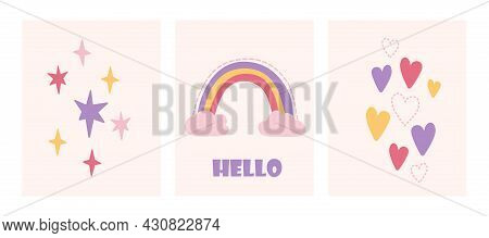 Cute Childish Set With Rainbow, Stars And Hearts On Pink Pastel Background. Concept Of Lovely Nurser