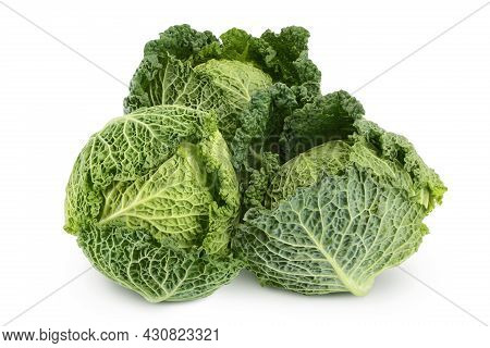 Savoy Cabbage Isolated On White Background With Clipping Path And Full Depth Of Field