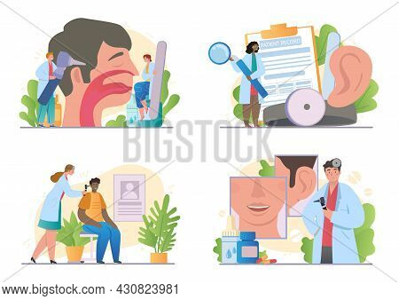 Set With Otorhinolaryngologist And Patients On White Background. Concept Of Healthcare, Otoscopy, Na