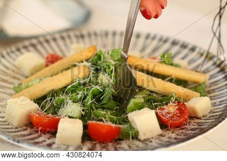 Mediterranean Salad With Feta Cheese, Tomatoes And Peppers. Mediterranean Salad And Mediterranean Fo