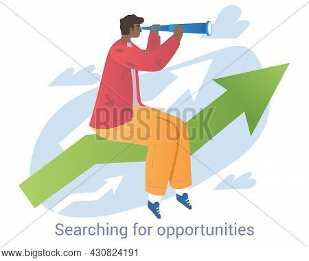 Young Male Character Is Searching For Opportunities Through Spyglass On White Background. Cheerful M