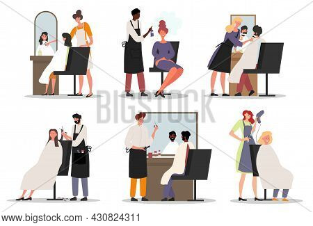 Set Of Male And Female Hairdressers Working With Clients In Salon On White Background. Happy Custome