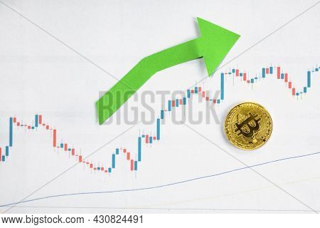 Appreciation Of Exchange Rates Of Virtual Money Bitcoin. Green Arrow With Golden Bitcoin Ladder On P