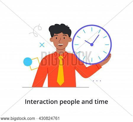 Smiling Male Character Is Holding Time Clock In Hand On White Background. Concept Of People Spending