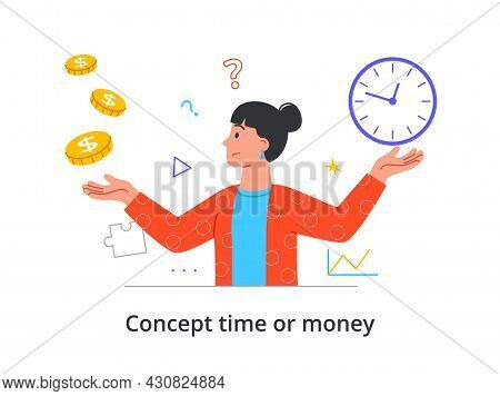 Young Female Character Is Choosing Between Money And Time On White Background. Concept Of People Dec