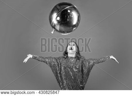 Enjoying Special Day. Happy Girl Play With Helium Balloon. Small Child Celebrate With Holiday Look.