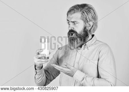 Healthy Food. Drink Protein Cocktail. Lactose Free. Emotional Bearded Man Hold Glass Of Milk. Pasteu