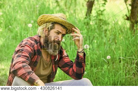 Eco Environment. Ecology Concept. Summer Vacation. Rest In Countryside. Summer Rest. Ranch Man In Co