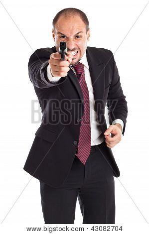 Mad Businessman With Gun