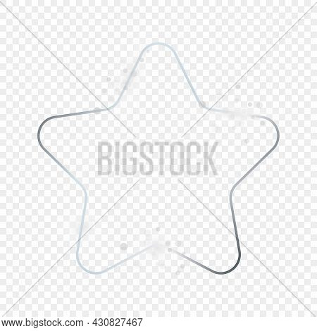Silver Glowing Rounded Star Shape Frame With Sparkles Isolated On Transparent Background. Shiny Fram