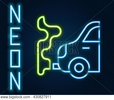 Glowing Neon Line Car Exhaust Icon Isolated On Black Background. Colorful Outline Concept. Vector