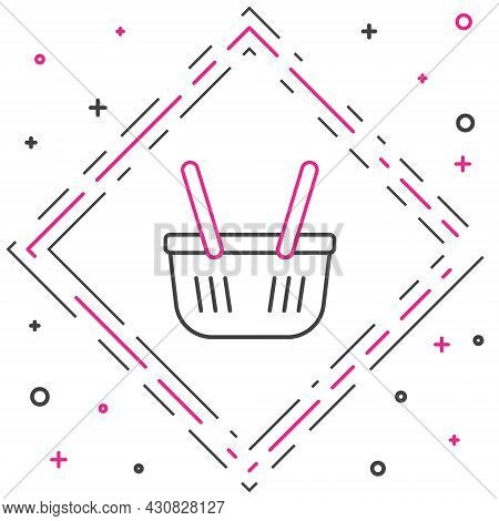 Line Shopping Basket Icon Isolated On White Background. Online Buying Concept. Delivery Service Sign