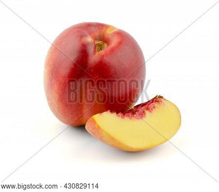 Juicy Peach Nectarine And Peach Slice On A White Background. Peach On A White Background, Isolate