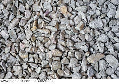 Garden Gravel Background Stone Landscaping. Closeup Gravel Road. Building Material Gravel Texture. C