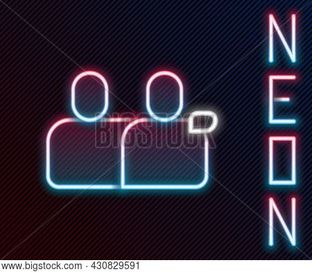 Glowing Neon Line Bff Or Best Friends Forever Icon Isolated On Black Background. Colorful Outline Co