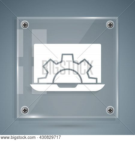 White Laptop And Gear Icon Isolated On Grey Background. Adjusting App, Setting Options, Maintenance,