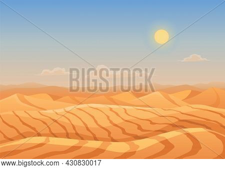Landscape Desert Dunes. Mountains From Sand. Cartoon Dry Desert Under Sun, Endless Sand Desert. Natu