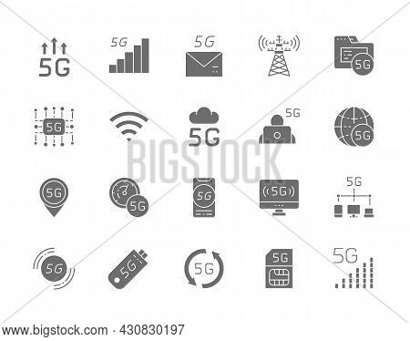 Set Of 5g Internet Grey Icons. Database, Wireless Chip, Cloud System And More.
