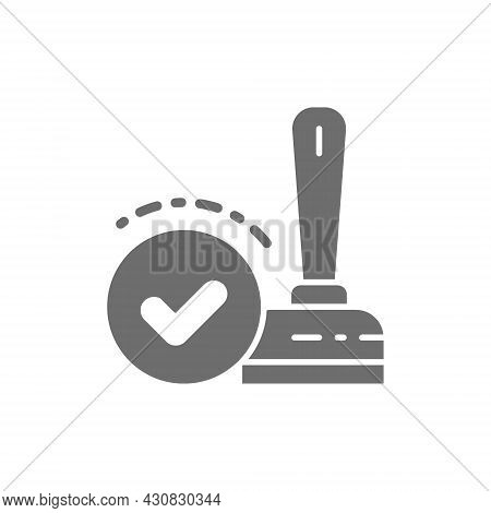 Approved, Check Mark Stamp, Verification, Validation, Quality Control Grey Icon.