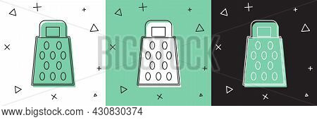 Set Grater Icon Isolated On White And Green, Black Background. Kitchen Symbol. Cooking Utensil. Cutl