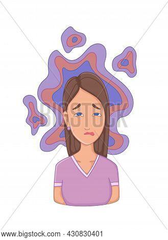 Women With Stress Symptom - Insomnia. Emotional Or Mental Health Problem, Stress. Cartoon Character