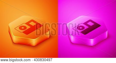 Isometric Action Extreme Camera Icon Isolated On Orange And Pink Background. Video Camera Equipment