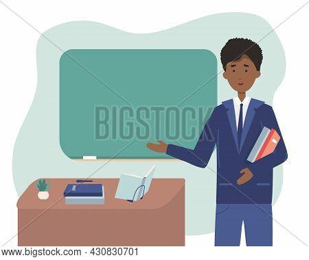 African American Male School Or University Teacher Or Professor Standing Next To Classroom Chalkboar