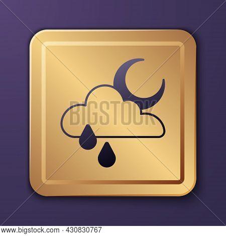 Purple Cloud With Rain And Moon Icon Isolated On Purple Background. Rain Cloud Precipitation With Ra