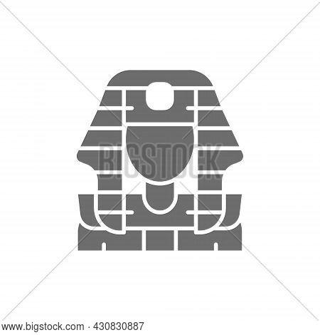 Egyptian Pharaohs Mask, Tutankhamun Grey Icon. Isolated On White Background