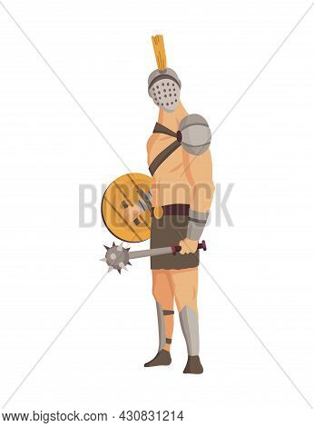 Ancient Rome Gladiator. Vector Roman Warrior Character In Armor With Mace And Shield. Flat Illustrat