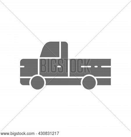 Pickup Truck, Pick-up Car, Vehicle Grey Icon.