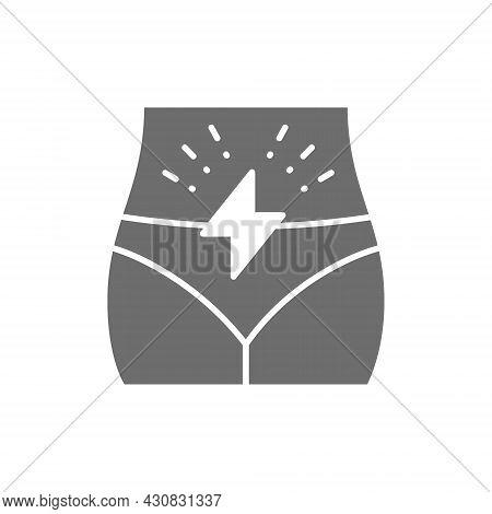 Menstrual Pain, Abdominal Pain Grey Icon. Isolated On White Background