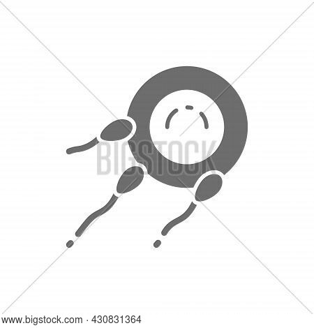 Fertilization Of Egg With Sperm, Fertility Grey Icon.