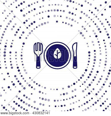 Blue Vegan Food Diet Icon Isolated Blue Background. Organic, Bio, Eco Symbol. Vegan, No Meat, Lactos