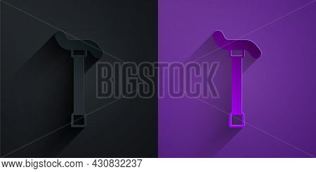Paper Cut Walking Stick Cane Icon Isolated On Black On Purple Background. Paper Art Style. Vector