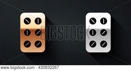 Gold And Silver Pills In Blister Pack Icon Isolated On Black Background. Medical Drug Package For Ta