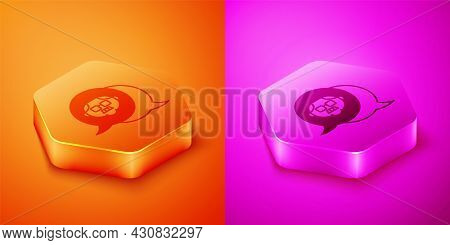 Isometric Grandfather Icon Isolated On Orange And Pink Background. Hexagon Button. Vector