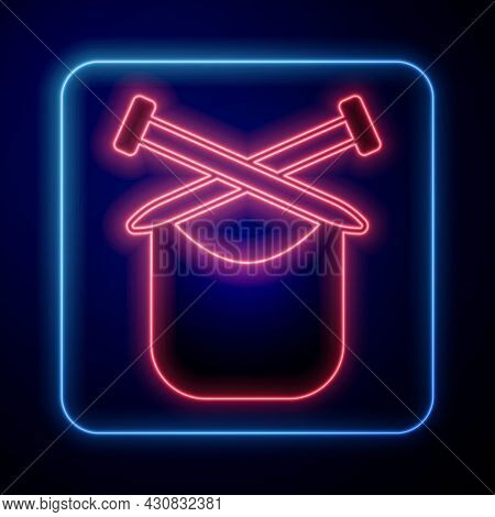 Glowing Neon Knitting Icon Isolated On Black Background. Wool Emblem With Knitted Fabric And Needle.